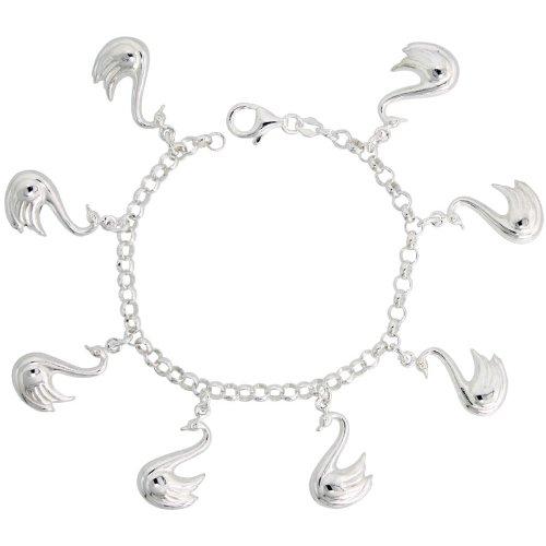 Sterling Silver Swan Pendant Bracelet, 1