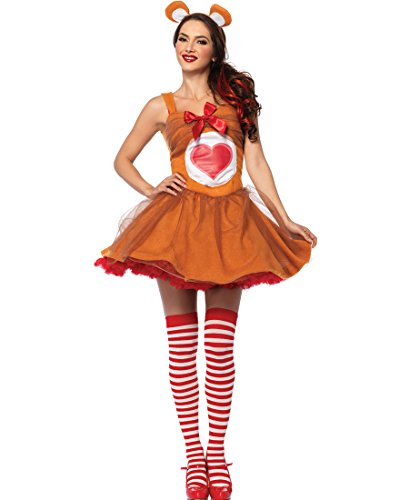 Leg Avenue CB85348 Cheer Bear Women Care Bears Halloween Costume - Brown - Medium/Large (Adult Care Bears Cheer Bear Costume)