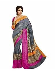 Bhavi Printed Sanganeri Silk Sari With Foil Print