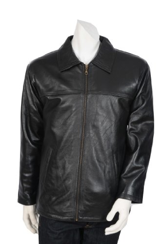 Mens Classic Zip Box Leather Jacket 220 Black Mid Length Leather Jacket (XL)