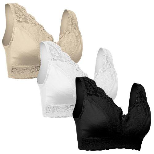 Set of 3 Rhonda Shear Bras – Black White and Nude-Medium