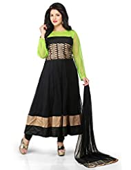 Utsav Fashion Women's Black And Neon Green Net Readymade Anarkali Churidar Kameez-Medium