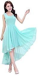 Dress({Choice Fashion_Blue_Large_Embroidery_Georgette_Women's Dress})