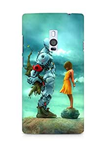 Amez designer printed 3d premium high quality back case cover for OnePlus Two (Robot n Girl)