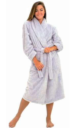 Del Rossa Women's Microfiber Fleece Bathrobe, Lavender