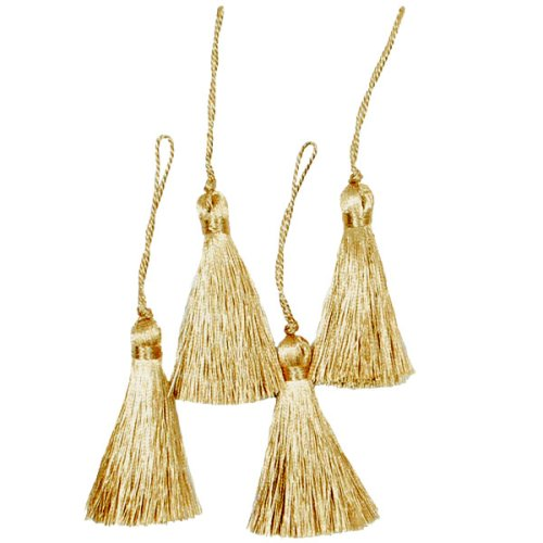 Big Save! Expo Mini Fiber Tassel, Metallic Gold, 4-Pack
