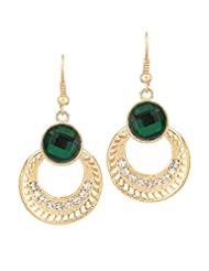 BIG Tree 18K Gold Plated Green Ring Dangler Earring For Women.