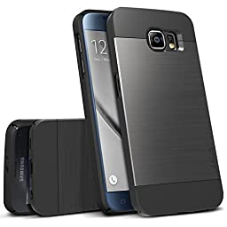Galaxy S6 Case, OBLIQ [Slim Meta][Titanium Black] Thin Bumper Fit Armor Scratch Resist Metallic Finish Dual Layered Heavy Duty Hard Protection Hybrid High Quality Case (for Samsung Galaxy S6)
