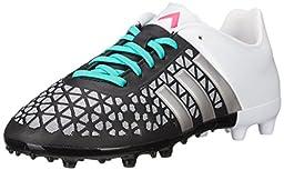 adidas Performance Ace 15.3 FG AG J Soccer Shoe (Little Kid/Big Kid),Black/Metallic Silver/Shock Mint,3.5 M US Big Kid