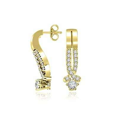 0.31ct H/SI1 Diamond Earrings for Women with Round Brilliant Diamonds in 18ct Yellow Gold