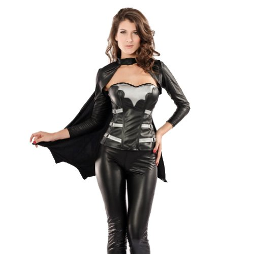 Halloween Batwoman Black Leather Cosplay Costume