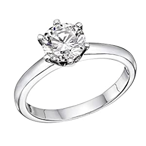 GIA Certified 14k white-gold Round Cut Diamond Engagement Ring (0.52 cttw, E Color, SI2 Clarity)
