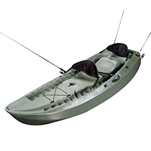 Lifetime Sport Fisher Kayak with Paddles and Backrests (Olive Green 10-Feet)