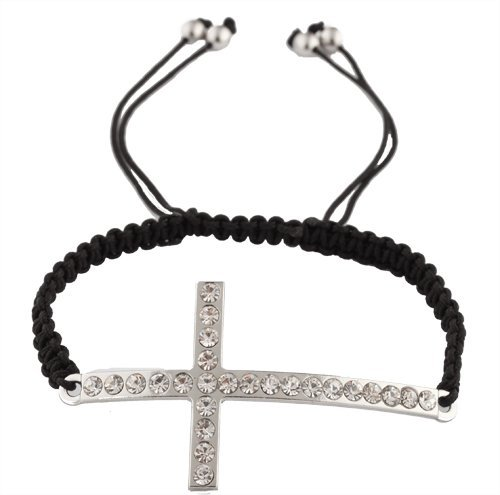 Black Lace Style Silver Iced Out Large Cross