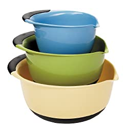 OXO Good Grips 3-Piece Mixing Bowl Set, Blue/Green/Yellow