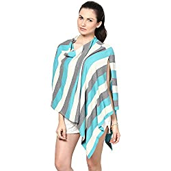 Pluchi Fashion Knitted Cotton Poncho MIA-Turquish Blue with Cool Grey and Natural
