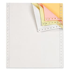 TOPS Continuous Computer Paper, 4-Part Carbonless, Removable 0.5 Inch Margins, 9.5 x 11 Inches, 900 Sheets, White/Canary/Pink/Golden (55189)
