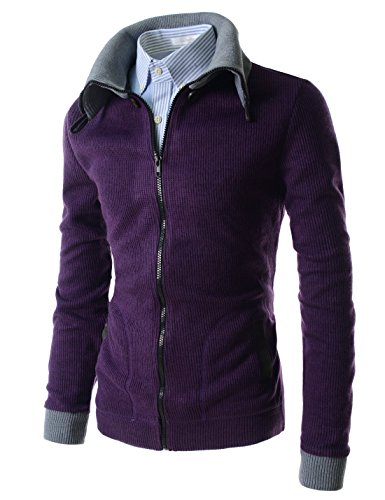 (GD62) TheLees Mens Casual Slim Fit Classy Design 2 Tone Button Cardigan Sweater