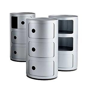 meuble de rangement rond componibili de kartell x 32cm diam 3 niveaux argent amazon. Black Bedroom Furniture Sets. Home Design Ideas