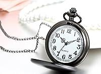 Regalo de papá Día del padre Jewelrywe Reloj de bolsillo Negro Pulido de Cazador, Cadena larga de 81cm, Estilo sencillo elegante, Unisex marca Jewelrywe