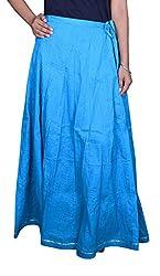 Pezzava Beautiful Cotton Solid Blue L.Skirt