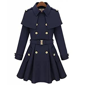 Amazon.com : Cheap Winter Coats Lapel Cape Belted Navy