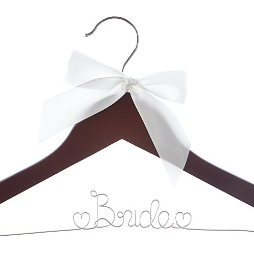 Bride to Be Wedding Dress Hanger - Wooden and Wire Hangers for Gown (Mahogany with Silver Wire)