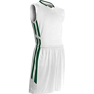 Buy Champro Youth Muscle Dri Gear Basketball Jersey , White|Forest Green, large  by Champro
