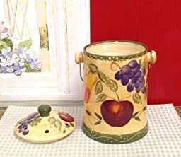Hand Painted Ceramic, Tuscany European Fruit Kitchen, Compost Crock, 9-3/4\