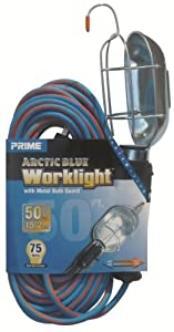 Prime TL020630 Arctic Blue All-Weather 16/3 SJEOW Metal Guard Work Light with Outlet, 50-Feet