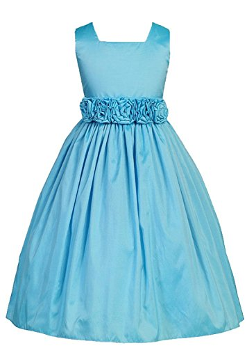 Sweet Kids Girls Slvless Dress Rolled Flw Waistband 12 Turquoise(Sk 3047) front-787803
