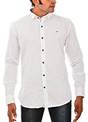 Indipulse Men's Casual Shirt (IF1150806B, White, XL)