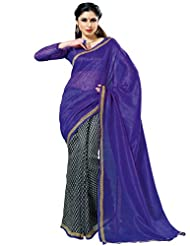 Prafful Silk Bhagalpuri Printed Saree With Unstitched Blouse - B00KNUFNC2