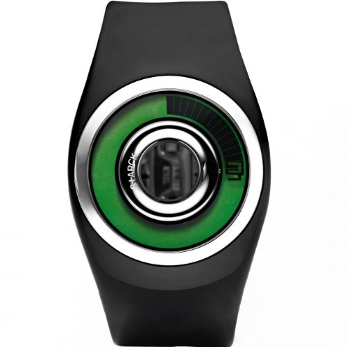 Starck Men's Digital Quartz Watch with Green Dial and Black Polyurethane Strap - PH1109