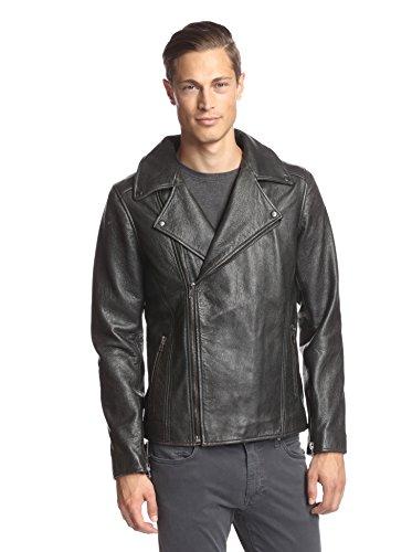 LOT78 Men's Box Zip Front Leather Biker Jacket