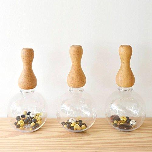 MokuNeji(モクネジ) TOY Grip with Globe Bottle ナチュラル 山中漆器のろくろ技術で作った木製がらがら