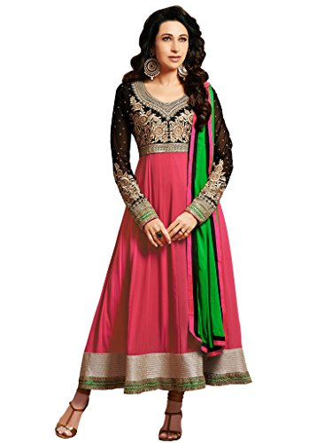 Riti Riwaz Exclusive Pink & Black georgette anarkali Dress material with matching dupatta ETS10009B