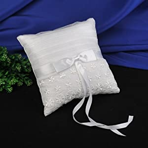Amazon.com: Topwedding White Lace Decorative Satin Ring Pillow ...