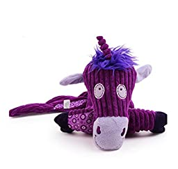 TOPCUTE Purple Donkey Plush Long Tail Training Dog Toys Pet Large Soft Squeaky Pets Toy With 6 Squeakers