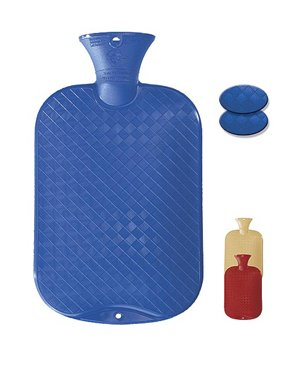 New Fashy Classic Cross-Hatched Hot Water Bottle - BLUE - Made in Germany