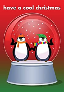 Penguins Snow Globe - Boxed Holiday Christmas Greeting Cards - Set of 10 Cards and Envelopes