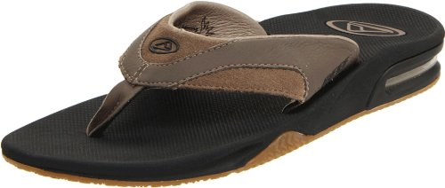 Reef Men's Leather Fanning Tan/Black Flip FlopR2416TBL 10 UK