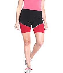 Espresso Solid Women's Basic Shorts-BLACK AND RED