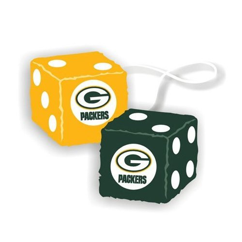 Rearview Mirror Car Fuzzy Dice - Green Bay Packers by Freemont Die