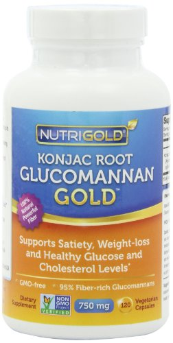 Nutrigold Glucomannan GOLD, Konjac Root Fiber for Weight-loss, 750mg, 120 Vegetarian Capsules