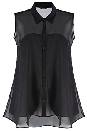 Yoursclothing Ladies Plus Size Chiffon Sleeveless Blouse With Layered Panels by YoursClothing