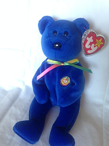 TY Beanie Babies Clubby Bear Stuffed Animal Plush Toy - 8 1/2 inches tall - Blue with Rainbow Ribbon and Beanie Babies Official Club Button