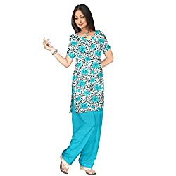 Shopeezo Off White and Sky Blue Colored Poly Cotton Printed Dress Material