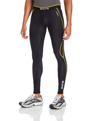Skins A200 Men's Compression Long Tights, Small, Black/Yellow