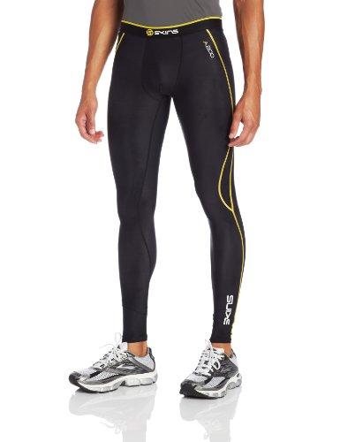 Skins A200 Men's Compression Long Tights, Medium, Black/Yellow
